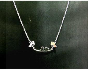 Tibetan silver, family bird necklace