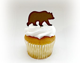 Bear Cupcake Toppers, Grizzly Bear Cupcake Toppers