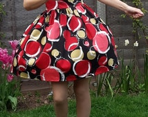 Summer dress, Vintage style dress, 1950's dress, Red dress, Black dress, Handmade dress, Wedding guest dress, Size 10 Dress, Fitted Dress,