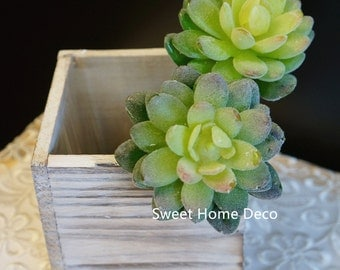 JennysFlowerShop 7'' Flocked Artificial Echeveria Succulent Stem in Green Set of 2, No Vase Included