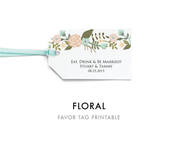 Floral Favor Tag Template Favor Tag Printable Wedding Tag