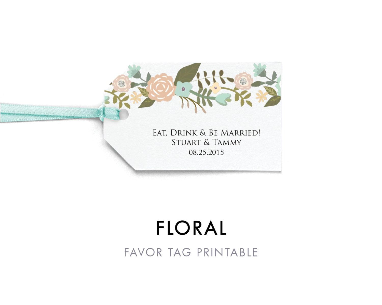 Floral Favor Tag Template Favor Tag Printable Wedding Tag