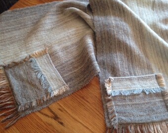 Vintage Atelje Carding Bjursas Wool Two Pocket Scarf Shawl ~ Swedish Clothing ~ Scarfs ~ Handvavd ~ Fringe Scarf