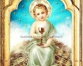"Infant Jesus, Catholic Art, Child Jesus, Chalice, Eucharist, Religious Art, 8x10"" Print by Sandra Lubreto Dettori"