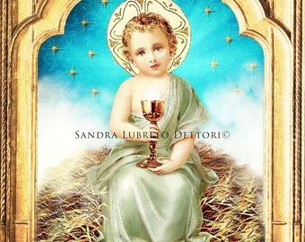 "Infant Jesus, Catholic Art, Child Jesus, Chalice, Eucharist, Religious Art, 8x10"" Print by Sandra Lubreto Dettori"