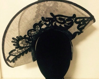 Grey and black sinamay headpiece with guipure lace detail (20% off)