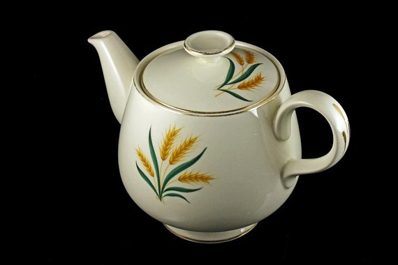 Footed Teapot, Homer Laughlin, Royal Harvest, Wheat Pattern, Gold Trim, Cavalier Eggshell Shape, Gold Trim, Holds 4 Cups