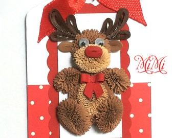 3 x Handmade Quilling Animal Christmas Gift Tag Kids/Children - Reindeer