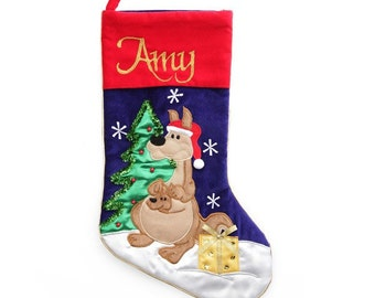 Personalised Australiana Kangaroo Christmas Stocking