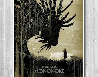 Princess Mononoke Poster, Hayao Miyazaki Minimalist Movie poster , Anime poster, My Neighbor Totoro poster, Nursery Art