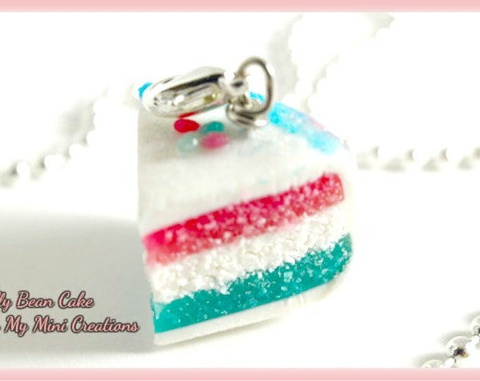 Jelly Bean Cake Necklace , Miniature Food Jewelry,  Miniature Food,