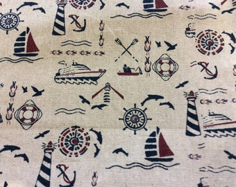 "Nautical linen print 110"" wide"