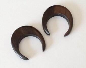 Wood double horn pendant, wood crescent, tiger ebony crescent-2pc