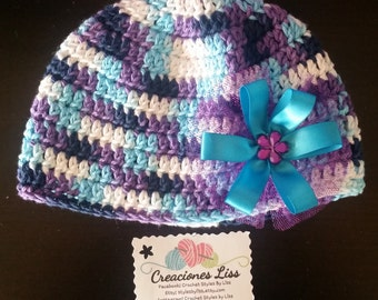 Crocher baby hat whit bow