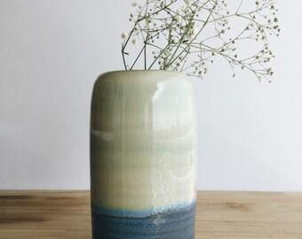 Wheel thrown stoneware cylinder vase