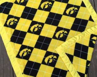 Iowa Hawkeyes Fleece Blanket with Yellow Satin Binding