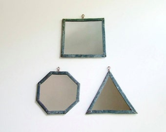 3 Leaded Mirrors, Geometric Mirror Set, Industrial, Wall Mirrors, Decorative Wall Mirrors, Triangle Mirror, Square Mirror, Octagonal Mirror