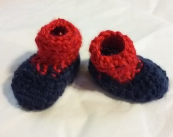 Crocheted Baby Red and Navy Shoes, Navy and Red Infant Shoes, Baby Shoes, Newborn Slippers, Handmade Booties, Baby Shoes, Custom Baby Gift