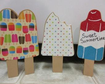Summer Decor-Sweet Summertime Wood Popsicle Set