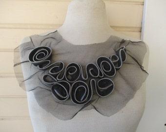 Neck Yoke Applique Zipper Design Black Silver