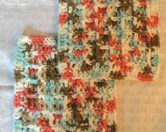 Crochet waffle weave face cloth