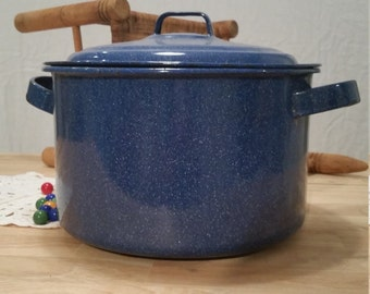 Vintage Blue Enamelware Stock Pot Large