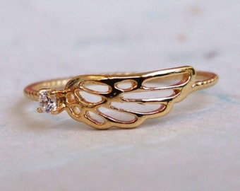 Angel Wing with one CZ Ring, 14K Gold Plated Ring