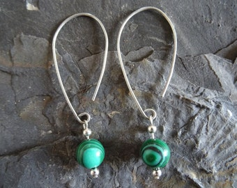 Silver wire and malachite green bead dangle earrings