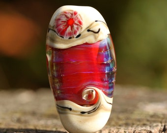 Gaba - lampwork floral bead