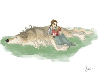 Arya Stark & Nymeria - Game Of Thrones, fantasy art, 8.5x11 Print