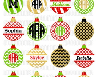 Christmas Ornament SVG Cut Files - Monogram Frames for Vinyl Cutters, Screen Printing, Silhouette, Die Cut Machines, & More