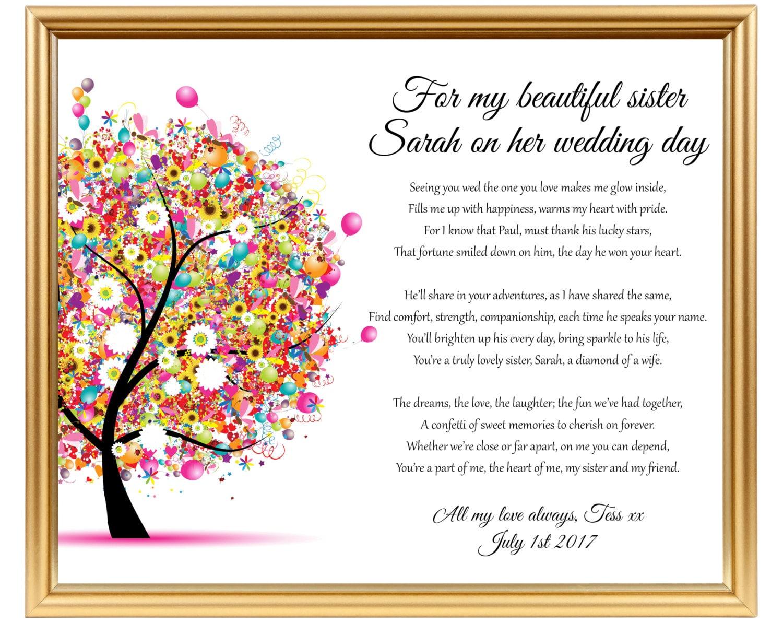 Wedding Gift For Sister Ideas: Wedding Gift Poem For Sister Sister Wedding By
