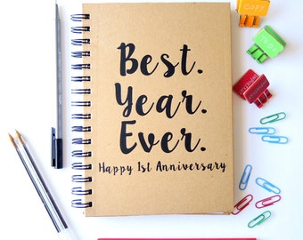 Personalised first anniversary gift. Paper anniversary notebook.
