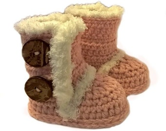 Sale - Free Shipping - Crochet - Light Rose - Pink - Ugg Inspired Booties - Baby - Girl - Boots- Crib Shoes