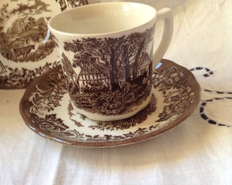 Romantic England JG Meakin set of two cups and saucers  . Three sets available.