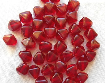 50 6mm Ruby, Siam Red bicones, pressed glass Czech beads, C3250