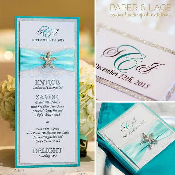 Starfish Wedding Menu with Monogram- Beach Wedding Menu - Silver Glitter Menu - Aqua Wedding Menu - Starfish Brooch (STARFISH MENU)