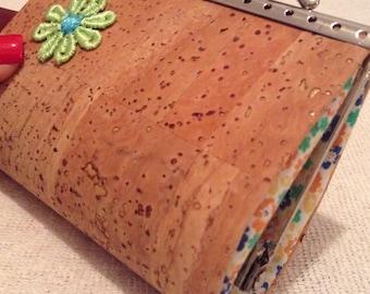 Cork handmade Flower coin purse