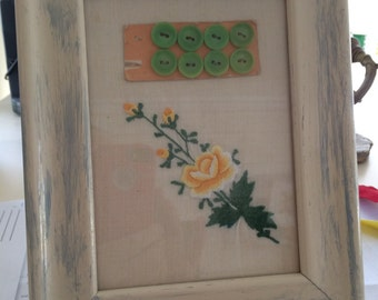 """antique handkerchief and buttons in wooden frame// glass covered//7""""x9""""//valentine gift//seamstress gift//collage//birthday gft"""