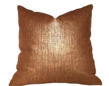 "Metallic Copper Penny Glazed Linen Pillow Cover, Fits Lumbar 16"" 18"" 20"" 22"" 24"" Cushion Inserts"