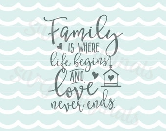 Family SVG Family Love SVG File. Cricut Explore and more. Cutting or Printing. Family Is Where Life Begins and Love Never Ends SVG