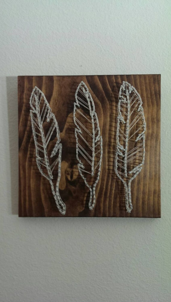 feather nail and string art. Black Bedroom Furniture Sets. Home Design Ideas