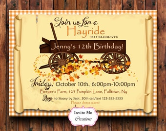 Hayride Invitation, Hayride Birthday Invite, Fall Invitation, Business Hayride Invite, Pumpkin Invitation, Digital Invitation, Harvest