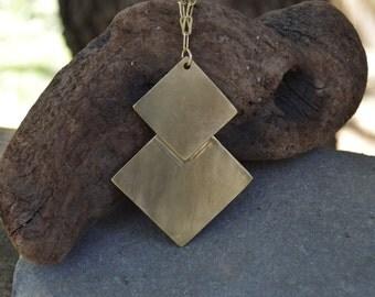 Gold necklace, brass necklace, pendant necklace, pendant, long necklace, Angle Necklace