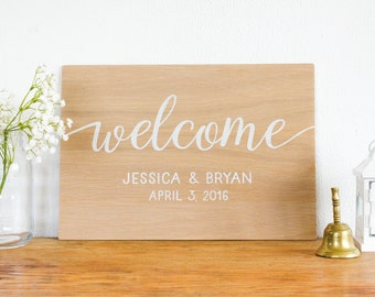 Welcome Wedding Sign - Personalized Wedding Sign - Wooden Sign- Rustic Wedding Decor - Wedding  Art- Boho Wedding