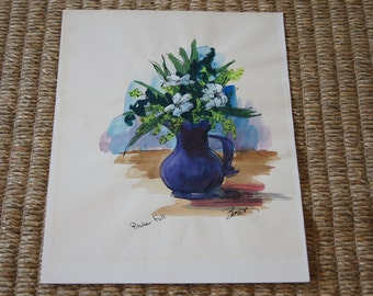 Vintage 1980's - Zolet - Pitcher Full - Watercolor - 14x 11 - Blue Flowers - Painting - Art