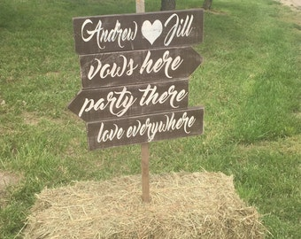 ON SALE Wedding directional signs - directional wedding signs - rustic wedding signs - wedding signage - ceremony sign - reception sign - pa