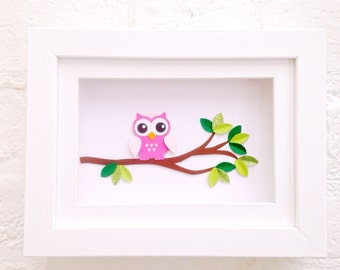 Unique baby girl gifts ~ Pink owl, framed art ~ Wall art for baby girl ~ 3D owl picture ~ Nursery wall art ~ Baby girl room decor ~ Owl