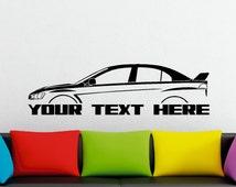 Large Custom car silhouette wall sticker - for Mitsubishi Lancer Evo 10 , Evolution X