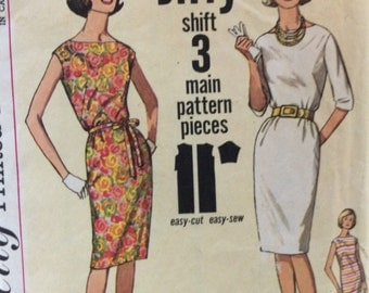 CLEARANCE!!  Simplicity 4947 vintage 1960's misses Jiffy shift dress sewing pattern size 14 bust 34